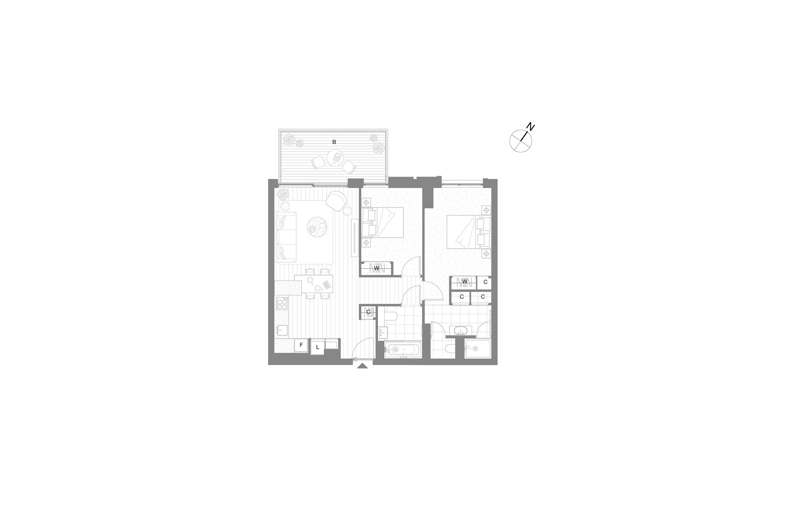 Embassy Gardens apartment 2 bed floor plan